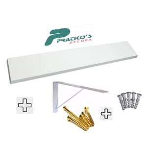 Prateleira Mdf Branco 20x120 Kit Completo